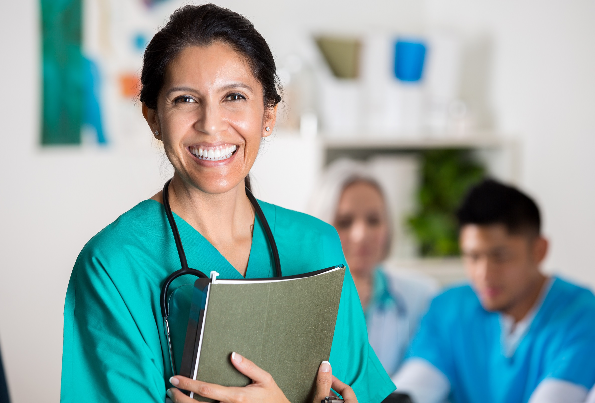 photo of a confident, smiling female doctor